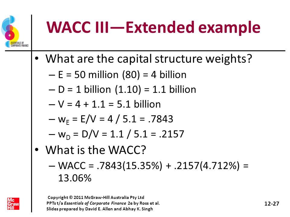 WACC III—Extended example