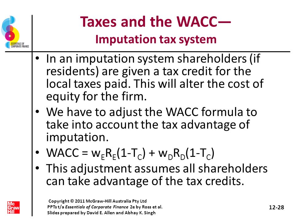 Taxes and the WACC— Imputation tax system