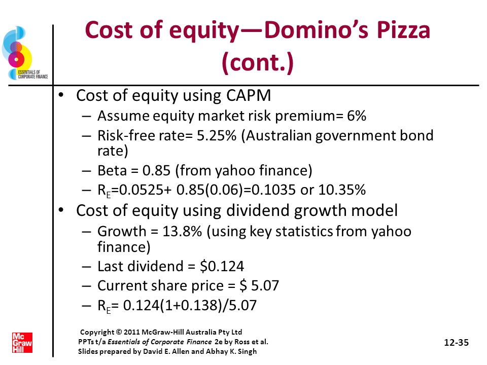 Cost of equity—Domino's Pizza (cont.)