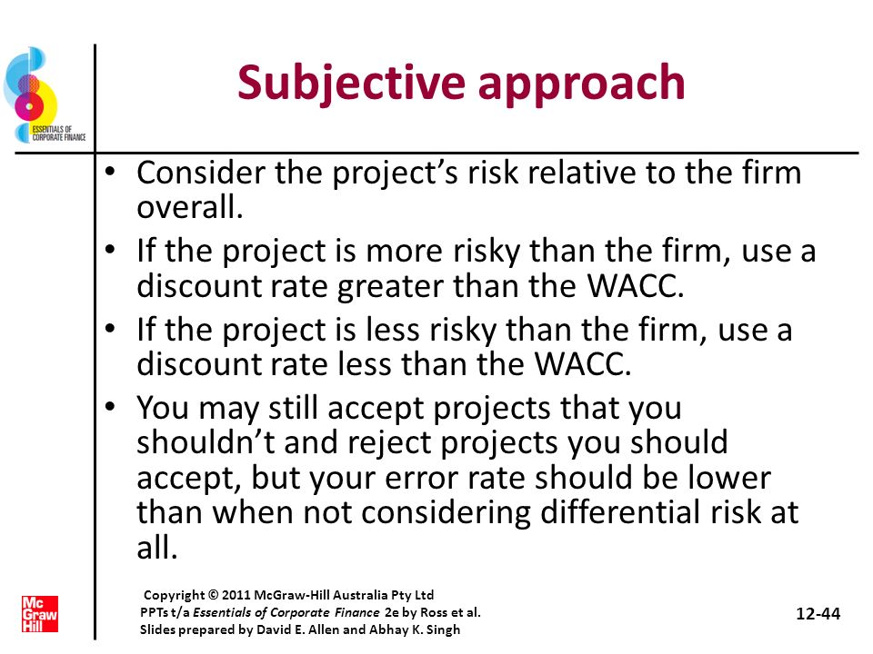 Subjective approach Consider the project's risk relative to the firm overall.