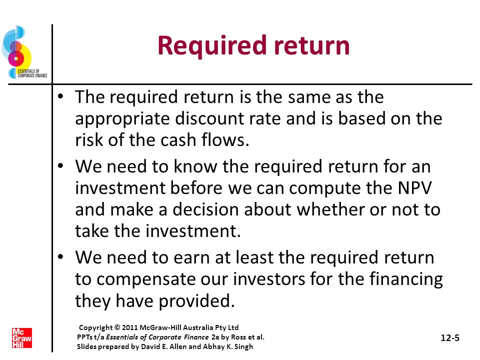 Required return The required return is the same as the appropriate discount rate and is based on the risk of the cash flows.