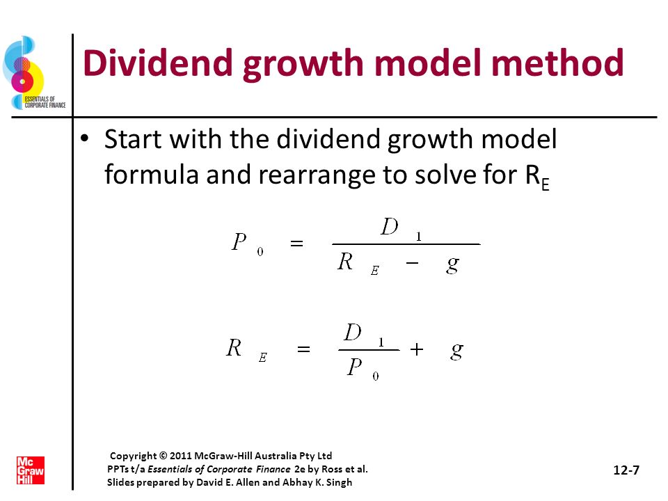 Dividend growth model method