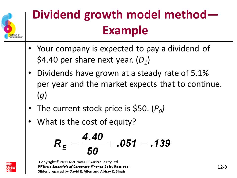 Dividend growth model method—Example