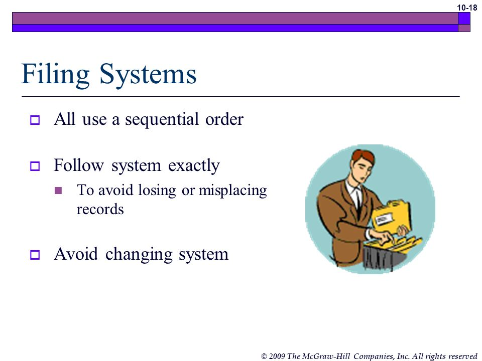 Filing Systems All use a sequential order Follow system exactly