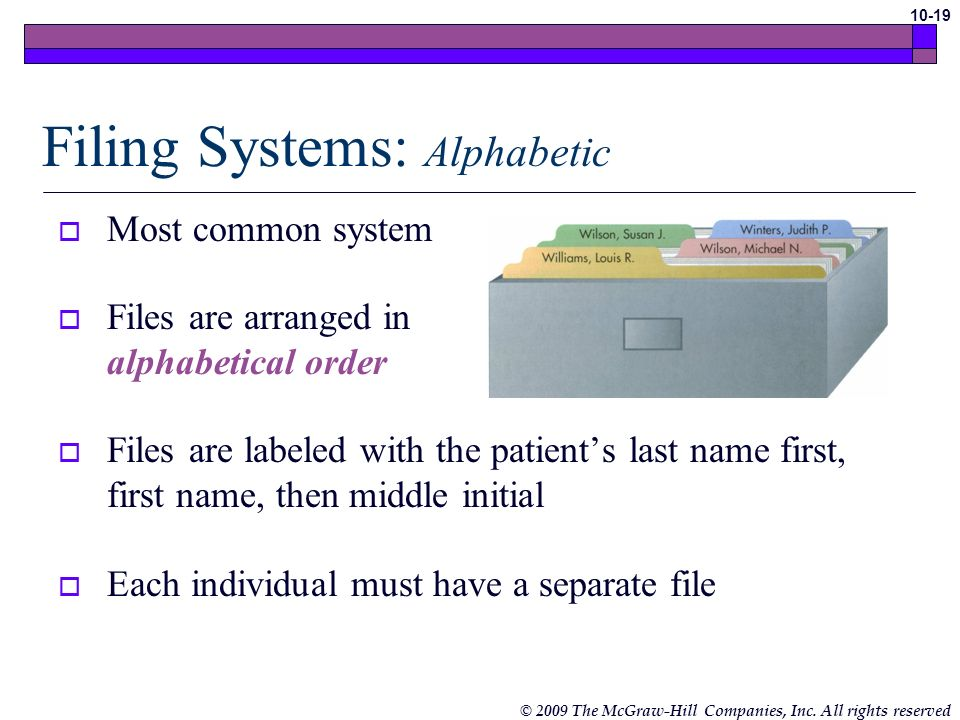 Filing Systems: Alphabetic