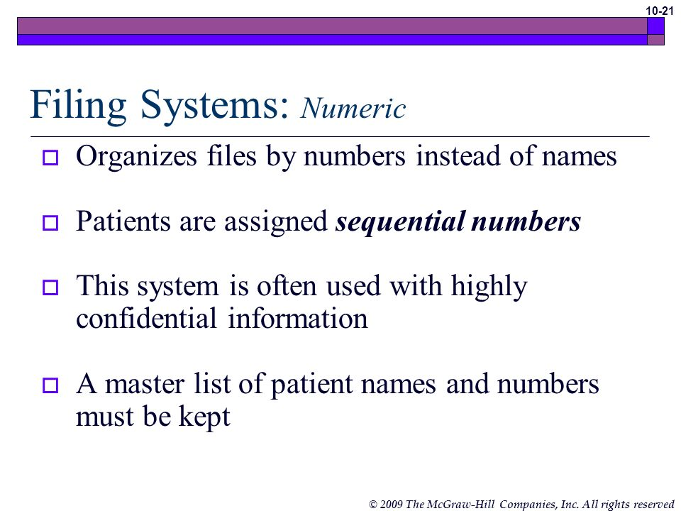 Filing Systems: Numeric