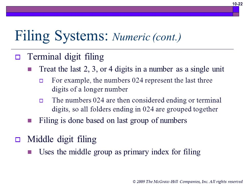 Filing Systems: Numeric (cont.)
