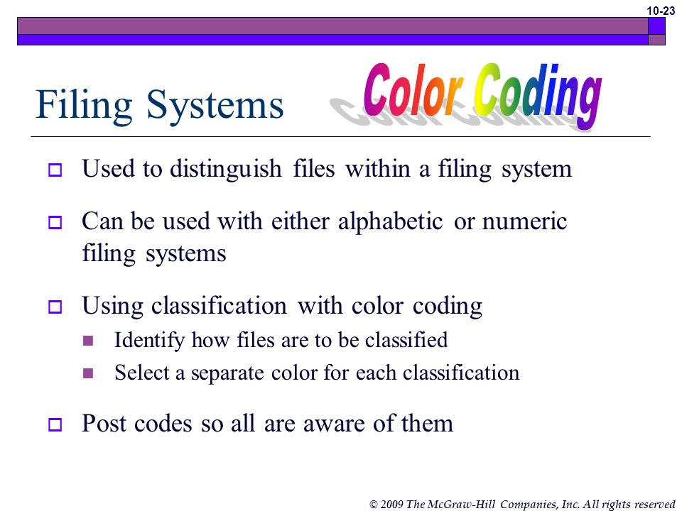 Filing Systems Color Coding