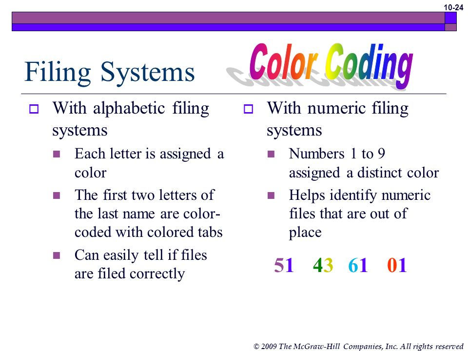 Filing Systems Color Coding With alphabetic filing systems