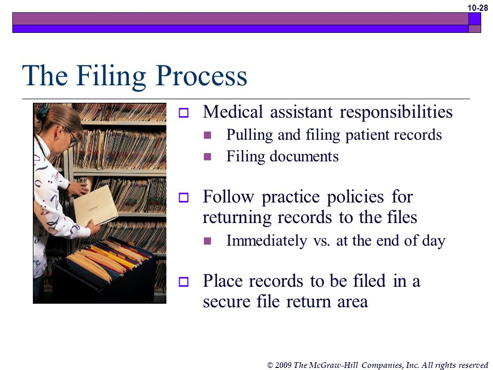 The Filing Process Medical assistant responsibilities
