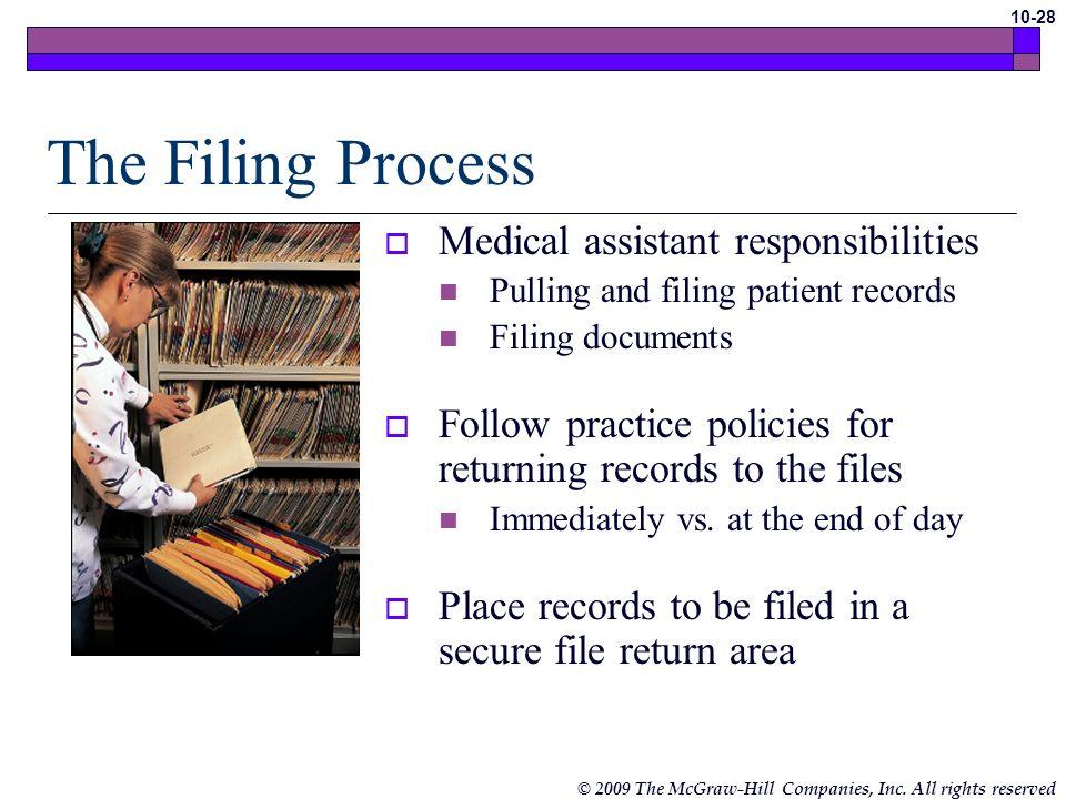 The Filing Process Medical assistant responsibilities