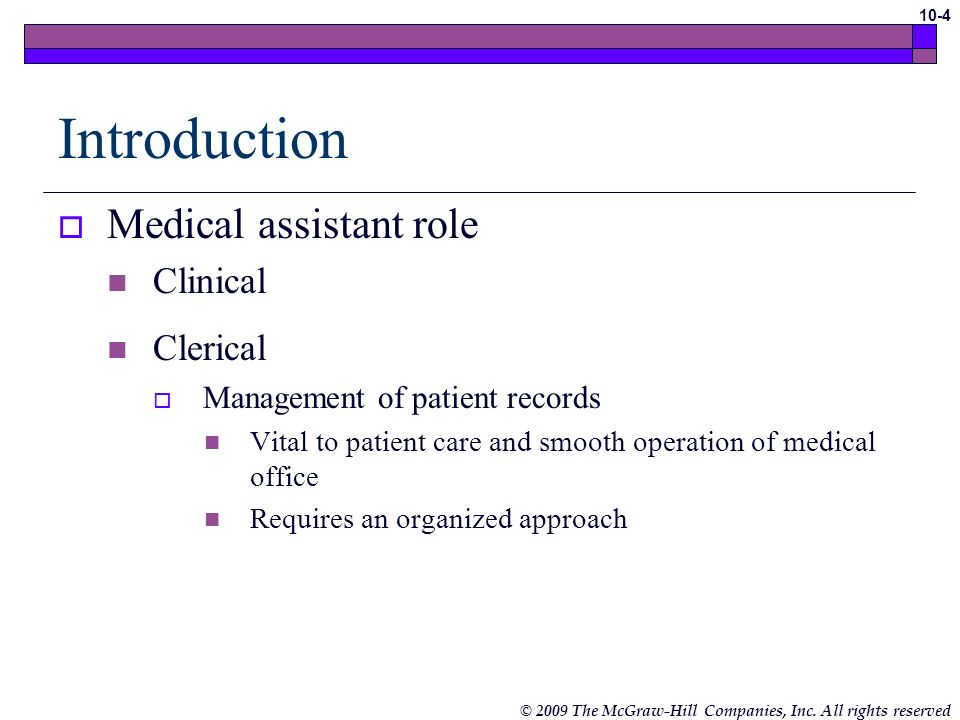 Introduction Medical assistant role Clinical Clerical