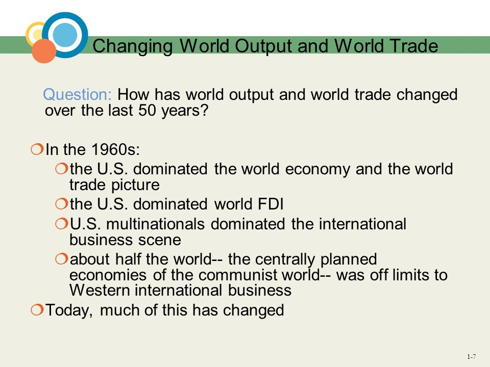 Changing World Output and World Trade
