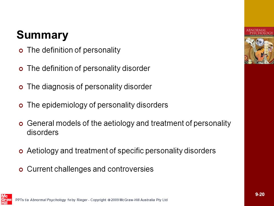 Summary The definition of personality