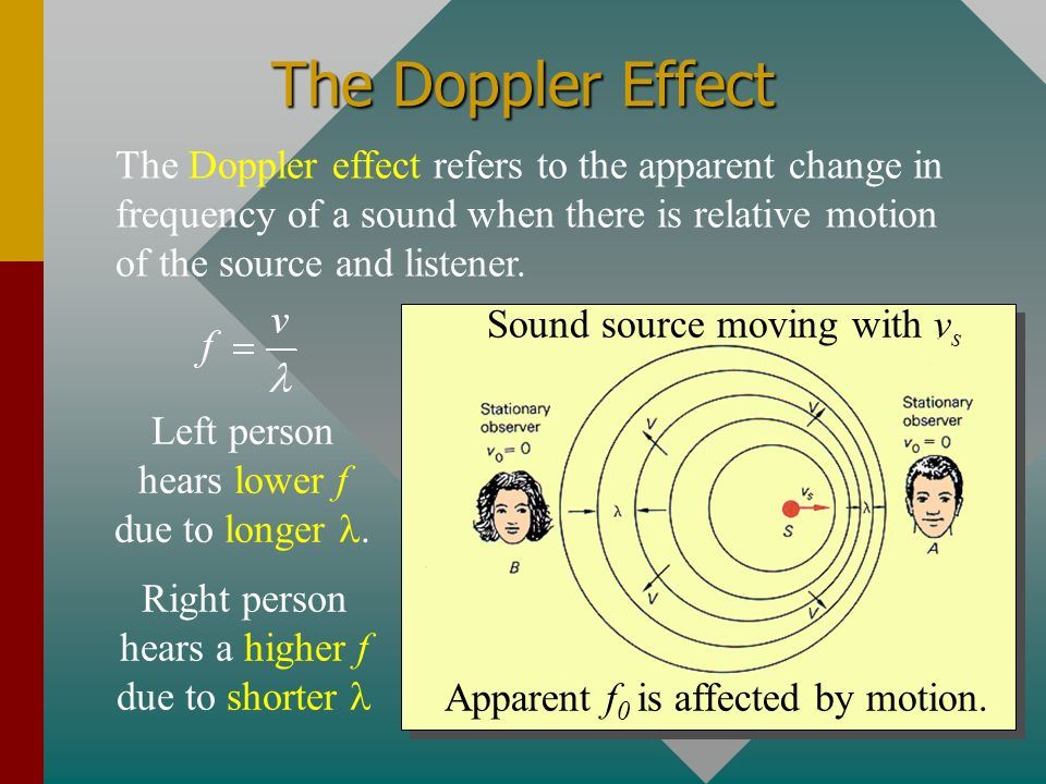 The Doppler Effect The Doppler effect refers to the apparent change in frequency of a sound when there is relative motion of the source and listener.