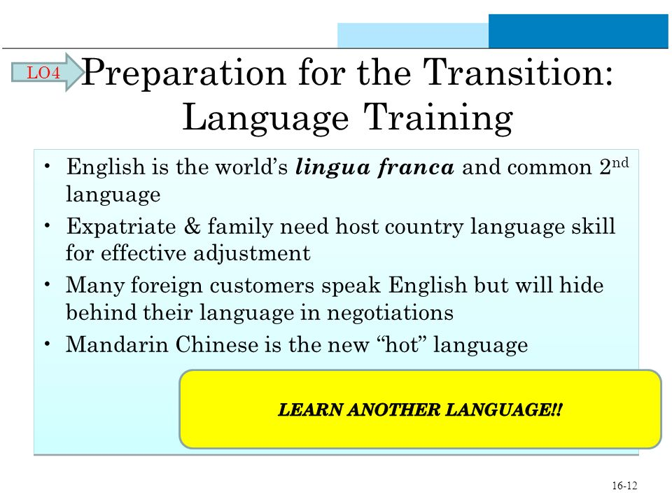 Preparation for the Transition: Language Training