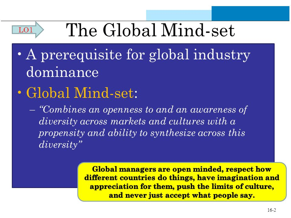 The Global Mind-set A prerequisite for global industry dominance