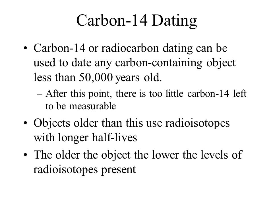 dating objects carbon 14