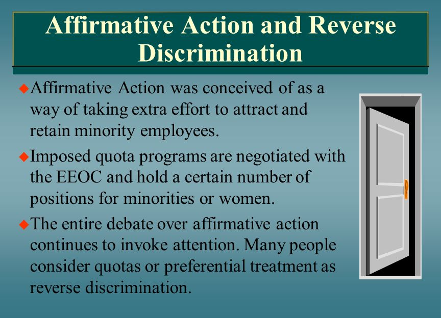 Affirmative action for the blacks minorities and women