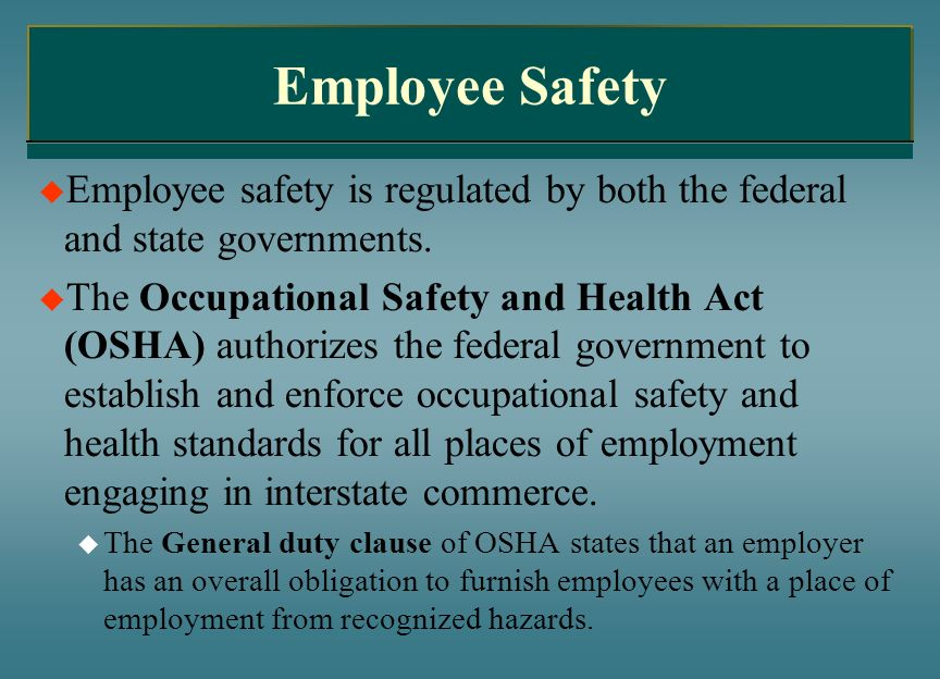 Employee SafetyEmployee safety is regulated by both the federal and state governments.