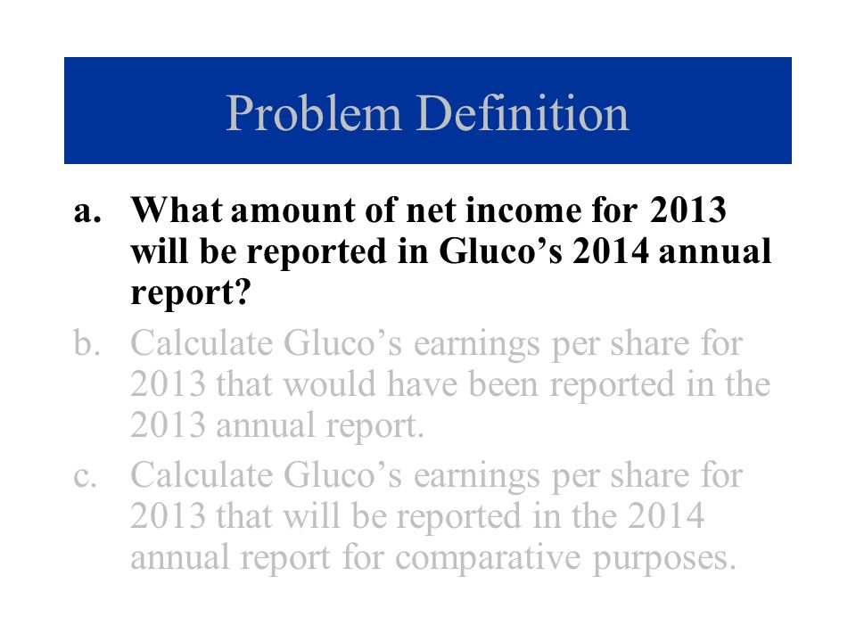 Problem Definition What amount of net income for 2013 will be reported in Gluco's 2014 annual report