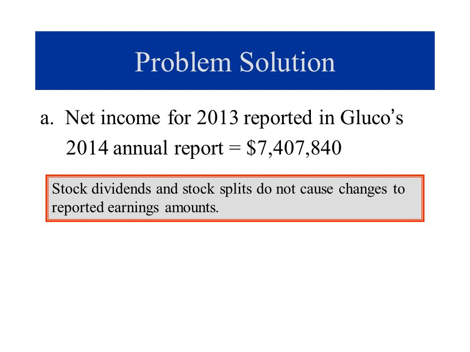 Problem Solution a. Net income for 2013 reported in Gluco's