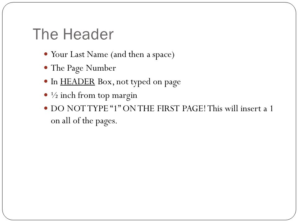 how to add header with last name and page number