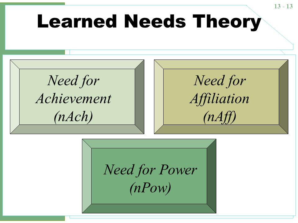 Learned Needs Theory Need for Achievement (nAch)