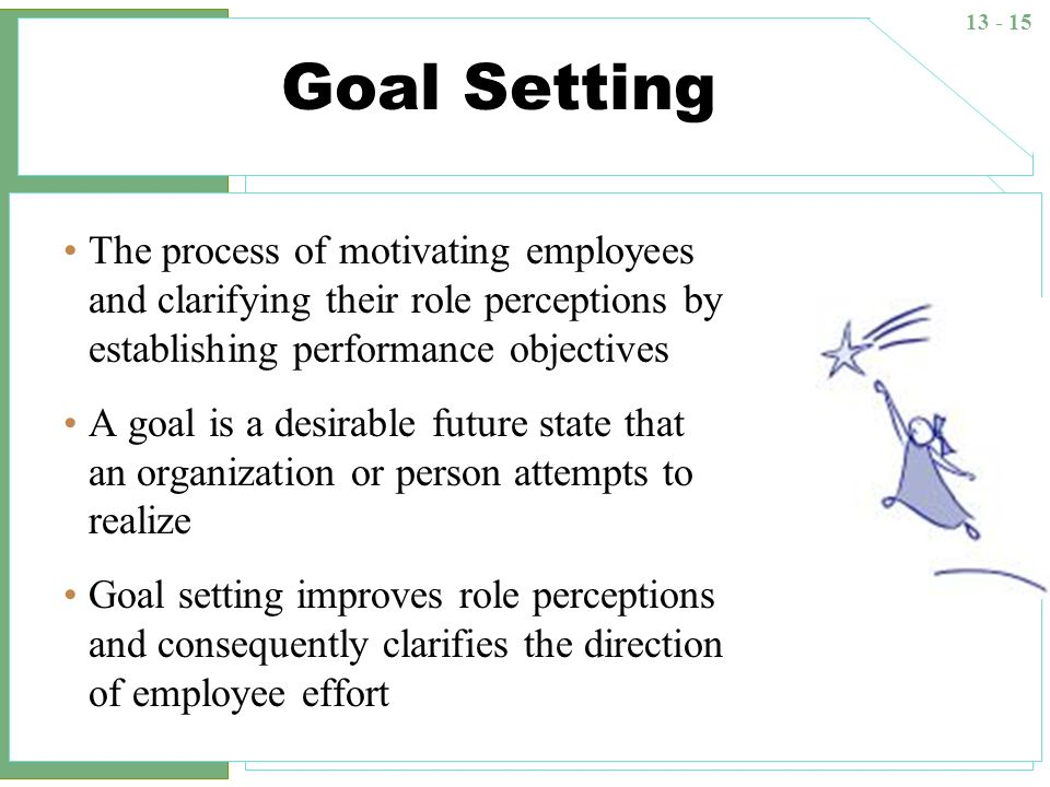 Goal Setting The process of motivating employees and clarifying their role perceptions by establishing performance objectives.