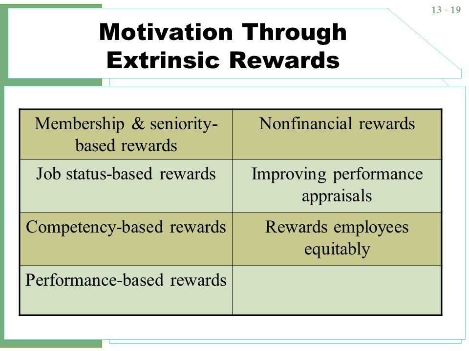Motivation Through Extrinsic Rewards
