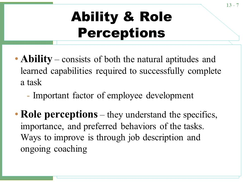 Ability & Role Perceptions