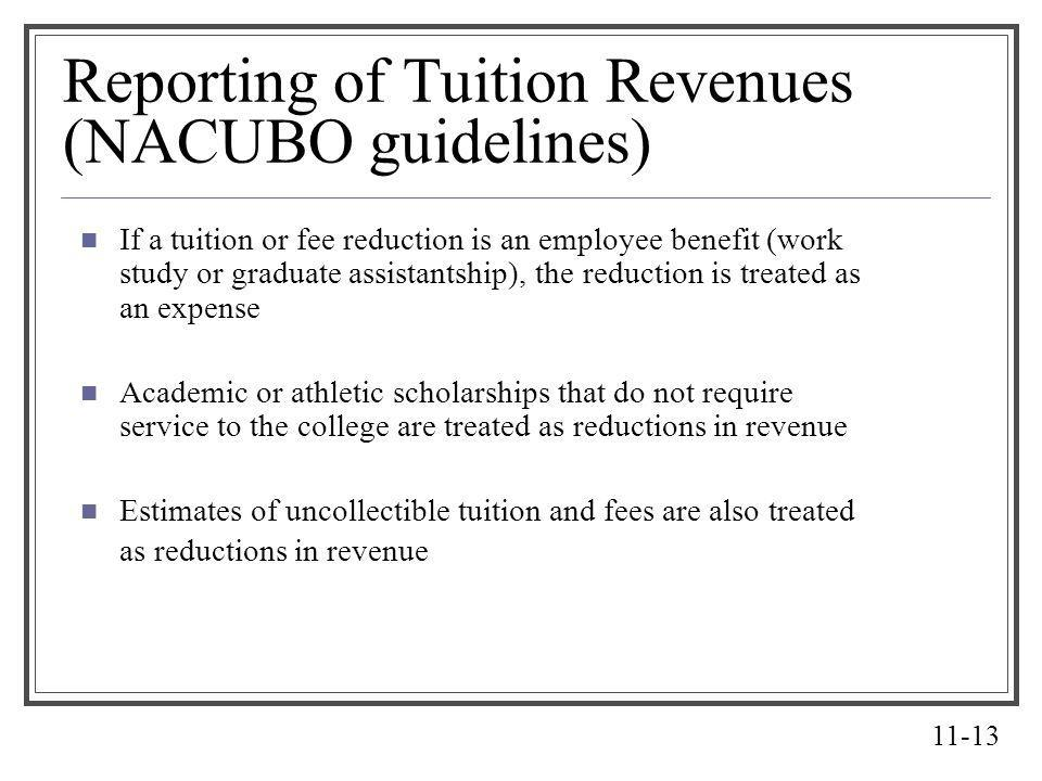 Reporting of Tuition Revenues (NACUBO guidelines)