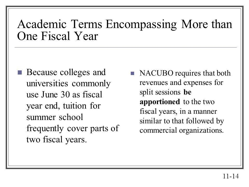 Academic Terms Encompassing More than One Fiscal Year