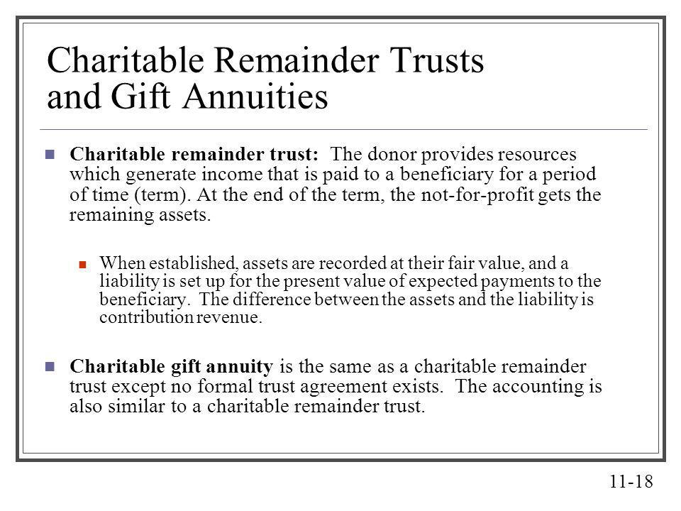Charitable Remainder Trusts and Gift Annuities