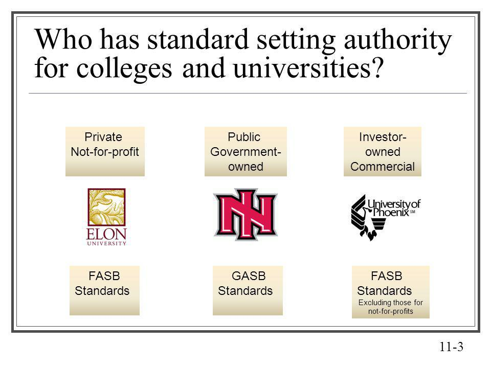 Who has standard setting authority for colleges and universities