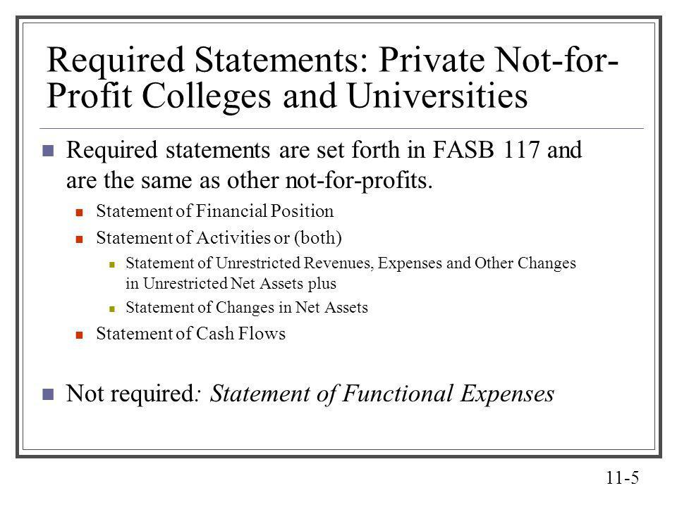 Required Statements: Private Not-for-Profit Colleges and Universities