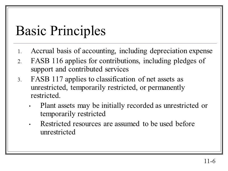 Basic Principles Accrual basis of accounting, including depreciation expense.