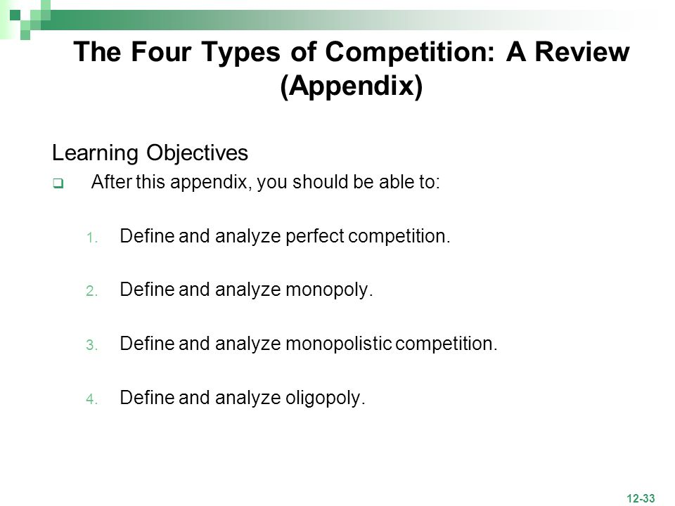 The Four Types of Competition: A Review (Appendix)