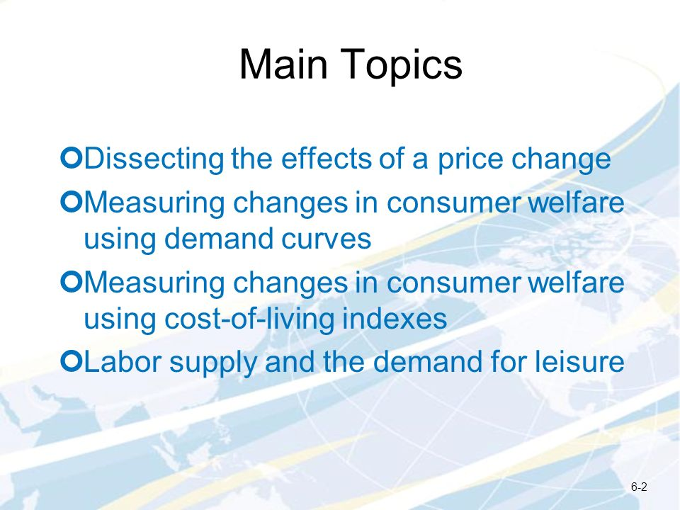 Main Topics Dissecting the effects of a price change