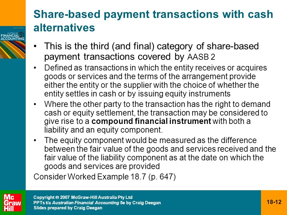 Share-based payment transactions with cash alternatives