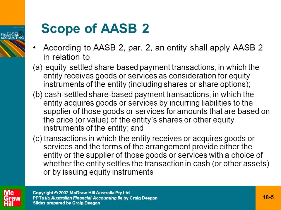 Scope of AASB 2 According to AASB 2, par. 2, an entity shall apply AASB 2 in relation to.