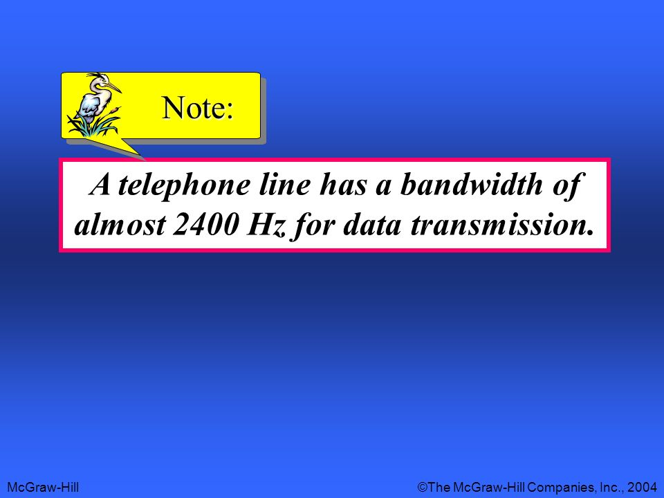 Note: A telephone line has a bandwidth of almost 2400 Hz for data transmission.