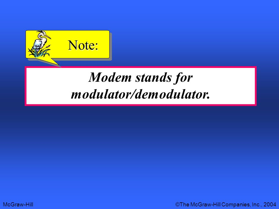 Modem stands for modulator/demodulator.