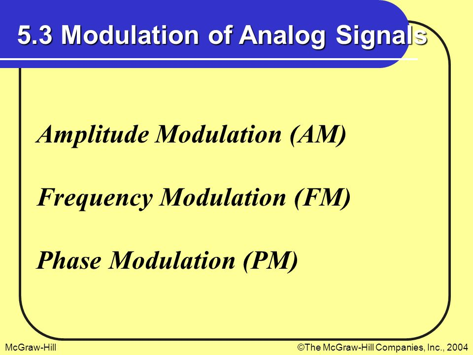 5.3 Modulation of Analog Signals