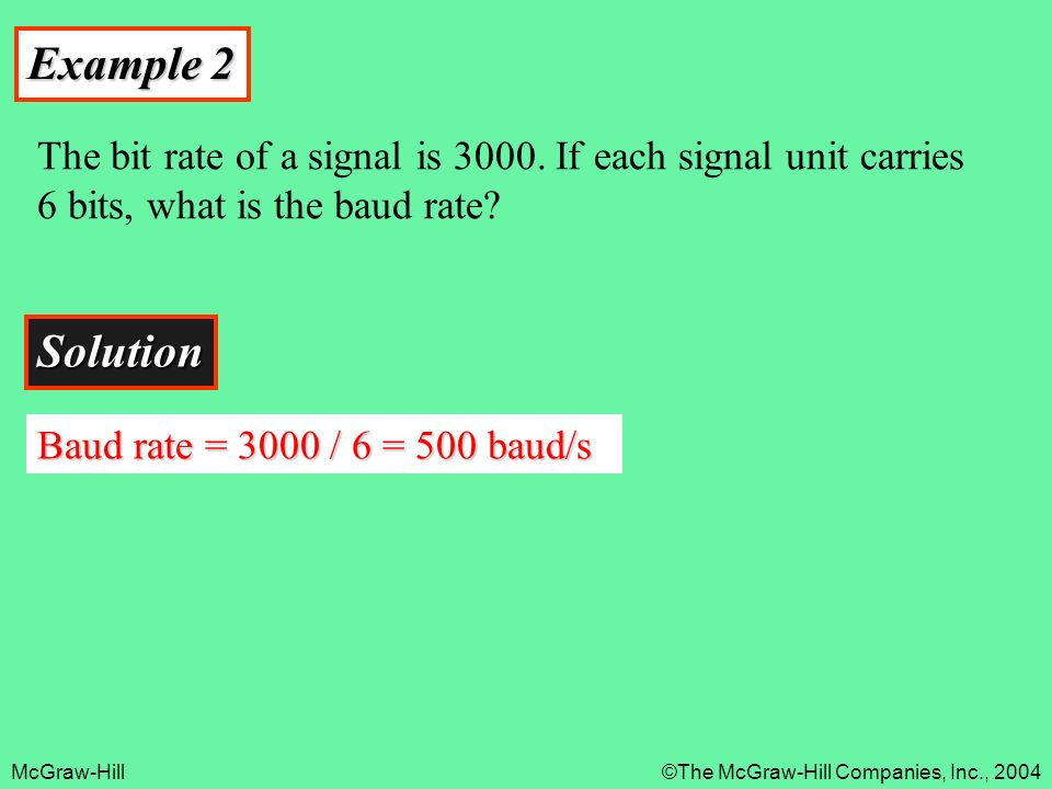 Example 2 The bit rate of a signal is If each signal unit carries 6 bits, what is the baud rate