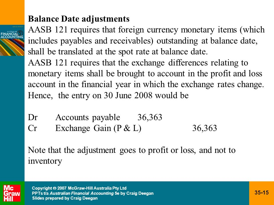 Balance Date adjustments