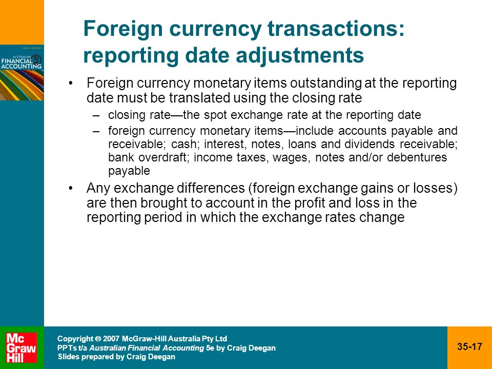 Foreign currency transactions: reporting date adjustments