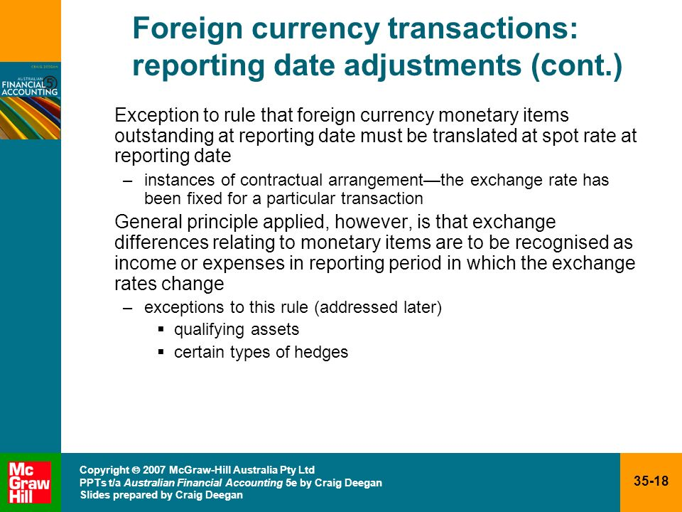 Foreign currency transactions: reporting date adjustments (cont.)