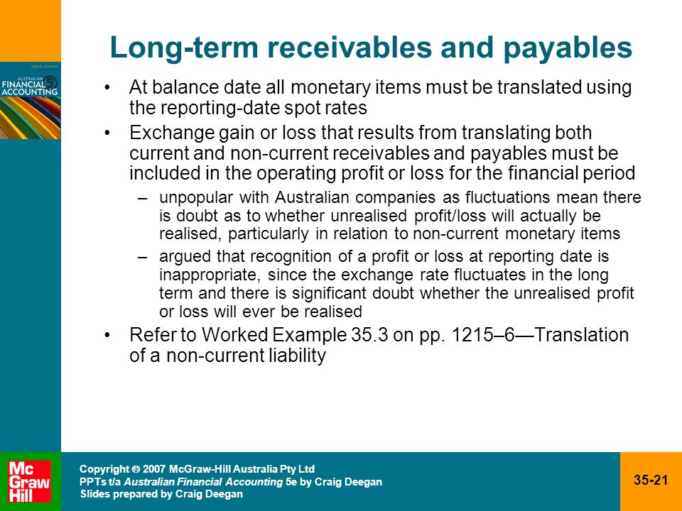 Long-term receivables and payables