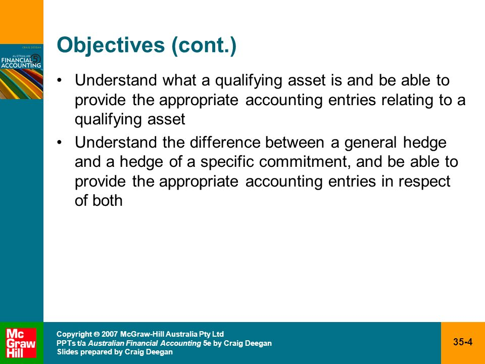 Objectives (cont.) Understand what a qualifying asset is and be able to provide the appropriate accounting entries relating to a qualifying asset.